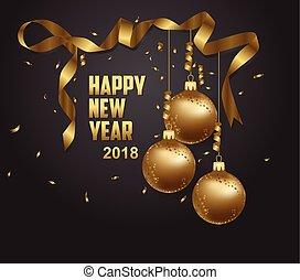 vektor, ilustrace, o, happy new year, 2018, zlatý, a, čerň, collors, bydliště, jako, text, vánoce, kule