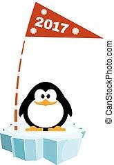 vektor, ilustrace, o, jeden, maličký, tučňák, dále, ta, led, s, jeden, flag., čekání, jako, nový rok, dovolená