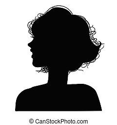 vektor, ilustrace, o, jeden, silhouettes, hlavička, sluka
