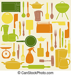 vektor, ilustrace, o, kuchyně, otesat dlátem, jako, vaření