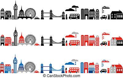 vektor, ilustrace, o, londýn, město