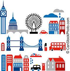 vektor, ilustrace, o, londýn, orientační bod