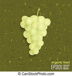 vektor, ilustrace, o, osamocený, grape.