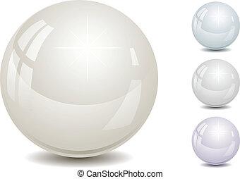 vektor, ilustrace, o, pearls.
