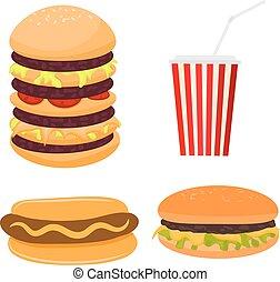 vektor, ilustrace, o, pevně, strava., karikatura, móda