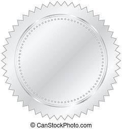 vektor, ilustrace, o, stříbrný, pečeť