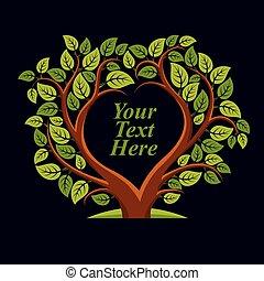 vektor, ilustrace, o, strom, s, list, a, větvit, do, ta,...