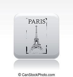 vektor, ilustrace, o, svobodný, osamocený, paříž, ikona