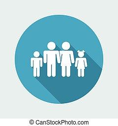vektor, ilustrace, o, svobodný, osamocený, rodina, ikona