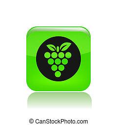 vektor, ilustrace, o, svobodný, osamocený, zrnko vína, ikona