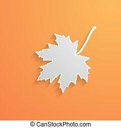vektor, ilustrace, o, zabalit do papíru, 3, javor zub, s, shadow., podzim
