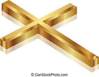 vektor, ilustrace, o, zlatý, kříž