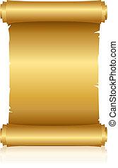 vektor, ilustrace, o, zlatý, svitek