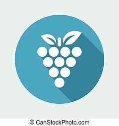 vektor, ilustrace, o, zrnko vína, svobodný, ikona