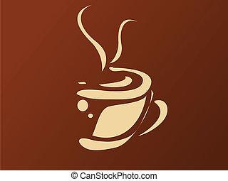 vektor, ilustrace, o, zrnková káva