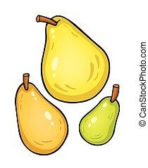 vektor, ilustrace, osamocený, dále, white., pears.