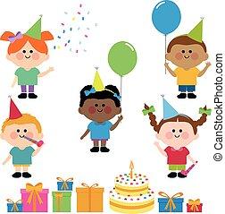 vektor, ilustrace, představit se., dítě, narozeniny buchta,...