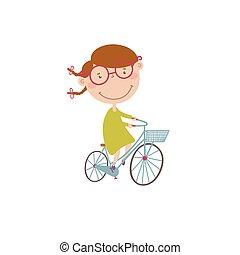 vektor, ilustrace, s, děvče, dále, jeden, bicycle.
