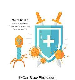 vektor, immun, begrepp, system