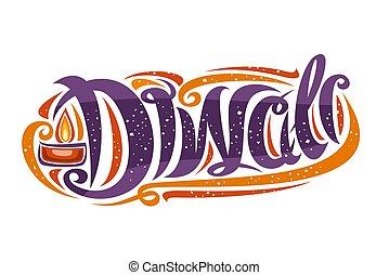 vektor, indisk, card, hils, festival, diwali