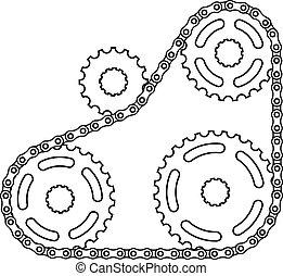 vektor, industriel, kæde, kædehjul, silhuet