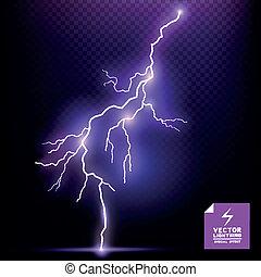 vektor, indvirkning, lyn