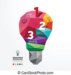vektor, infographic, glühlampe, design, begrifflich,...