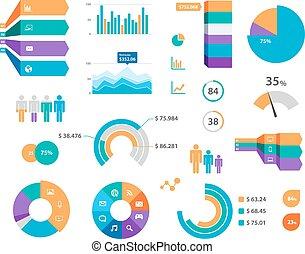 vektor, infographics, opatřit nápisem, graf, ikona