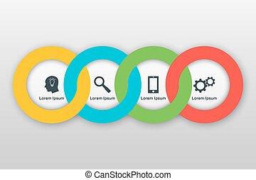 vektor, infographics, schablone, mit, vier, optionen, in, material, design, style., ihm, buechse, sein, gebraucht, als, a, tabelle, numeriert, banner, darstellung, schaubild, bericht, web, usw.