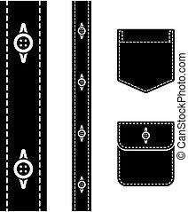 vektor, ing, gombol, zseb, fekete, árnykép