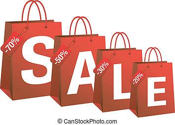 vektor, inköp, försäljning, hänger lös, röd