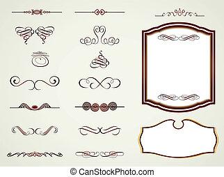 vektor, inramar, etiketter, elements., calligraphic