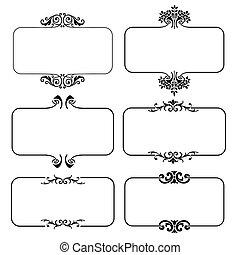 vektor, inramar, sätta, illustration, calligraphic