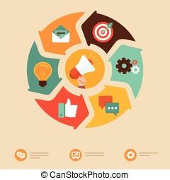vektor, internet marketing, begriff, in, wohnung, stil