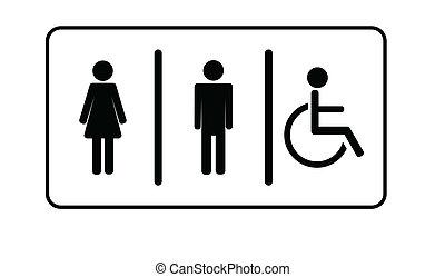vektor, invalide, eins, mann, toilette, toilette, frau, ...