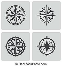 vektor, iránytű, állhatatos, fekete, ikonok