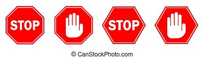 vektor, isolated., stopschild, hand, rotes
