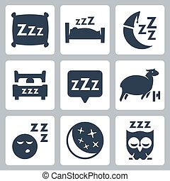 vektor, isoleret, søvn, ikoner begreb, set:, pillow, seng,...
