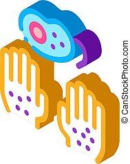vektor, isometric, koszos, ikon, ábra, kézbesít, baktérium