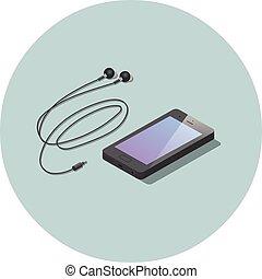 vektor, isometric, smartphone, fekete, headphones.