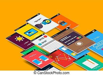 vektor, isometrisch, beweglich, app, ui, design, begriff