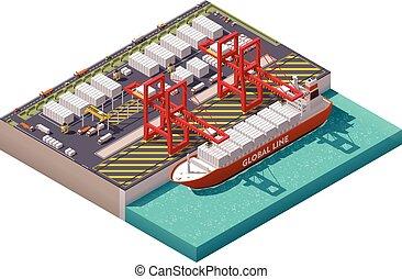 vektor, isometrisch, containerhafen