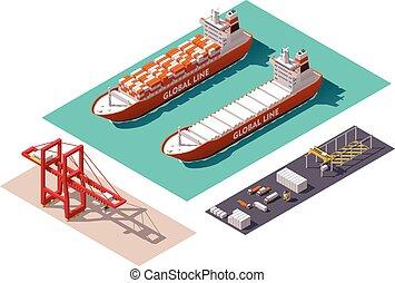 vektor, isometrisch, containerhafen, elemente