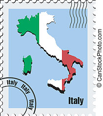 vektor, italien, briefmarke
