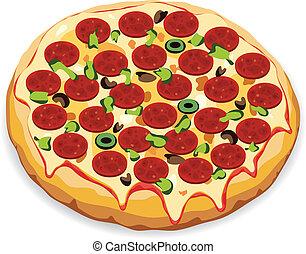 vektor, italský, pizza