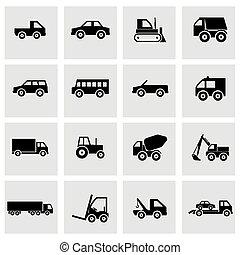 vektor, jármű, állhatatos, fekete, ikonok