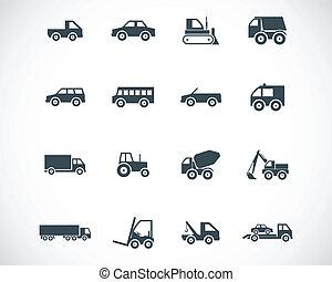 vektor, jármű, fekete, állhatatos, ikonok