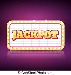 vektor, jackpot, banner, symbol., kasinospiel, neon zeichen, von, jackpot, erfolg, begriff