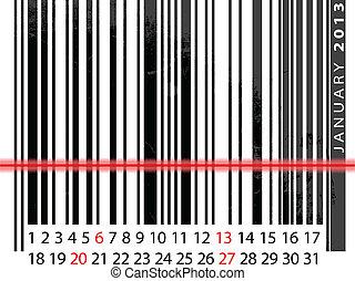 vektor, januar, barcode, abbildung, kalender, 2013, design.