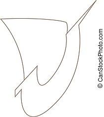 vektor, jel, egyszerű, ábra, hajó